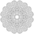 Vector black and white flower mandala composed with flowers, circles and plant leaves, black lines on white paper background