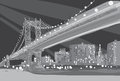 Vector black and white illustration of Brooklyn Bridge in New York City Royalty Free Stock Photo