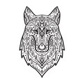 Vector black and white illustration of tribal style wolf with ethnic ornaments
