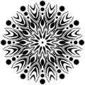 Vector Black and white Mandala ornament, flame, sharp edges, circles with in.
