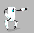 Vector black and white robot on gray background Royalty Free Stock Photo