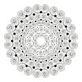 Vector black white round mandala with striped curly spirals - adult coloring book page