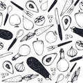 Vector black and white seamless food pattern. Vegetables, forks, knifes, spoons Royalty Free Stock Photo