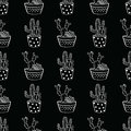 Vector black and white seamless pattern with cactuses and succulents in pots