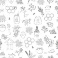 Vector black and white seamless pattern of honey, bee, bumblebee, beehive, wasp, apiary, meadow flowers
