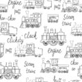 Vector black and white seamless pattern of retro engines