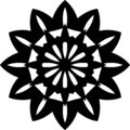 Vector black and white Sunflower geometrical mandala design or pattern.