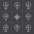 Vector black wind rose icons set this is file of eps format Royalty Free Stock Image