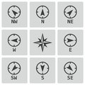 Vector black wind rose icons set on white background Stock Image