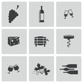 Vector black wine icons set on white background Stock Photography