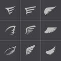 Vector black wing icons set this is file of eps format Stock Photos