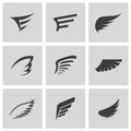 Vector black wing icons set on white background Royalty Free Stock Photography