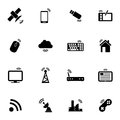 Vector black wireless icons set on white background Royalty Free Stock Images
