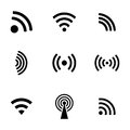 Vector black wireless icons set white background Stock Images