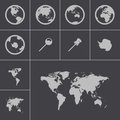 Vector black world map icons set Royalty Free Stock Photo