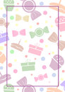 Vector blank for letter or greeting card. White paper form with colorful gifts; sweets; lines and border. A4 format size