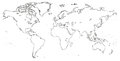 Vector Blank outline, linear, line circuit, contour black similar World map isolated white background. Monochrome