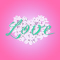 Vector blooming lilac heart with romantic Love text on gradient pink background.