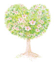 Vector blossoming tree heart shape background is my creative handdrawing and you can use it for spring summer easter valentines Stock Photo