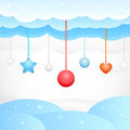 Vector blue background clouds christmas decorations Royalty Free Stock Images