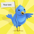 Vector blue bird funny on yellow background Royalty Free Stock Images