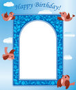 Vector blue card with birds Royalty Free Stock Images