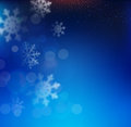 Vector blue Christmas background with snowflakes Royalty Free Stock Photo
