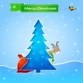Vector blue christmas card Royalty Free Stock Images