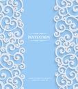 Vektor modrý  trojrozmerný starodávny pozvánka vzor