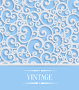 Vector Blue 3d Vintage Invitation Card with Floral Swirl Pattern Royalty Free Stock Photo
