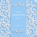 Vector Blue 3d Vintage Invitation Card with Swirl Damask Pattern Royalty Free Stock Photo