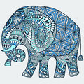Vector blue decorated Indian Elephant Royalty Free Stock Photo