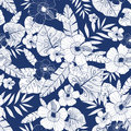 Vector blue drawing tropical summer hawaiian seamless pattern with tropical plants, leaves, and hibiscus flowers. Great Royalty Free Stock Photo