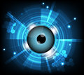 Vector blue eyeball cyber future technology , security concept background.