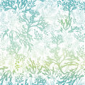 Vector Blue Freen Seaweed Texture Seamless Pattern Background. Great for elegant gray fabric, cards, wedding invitations