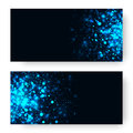 Vector blue glowing light glitter background. Magic glow light effect. Star burst with sparkles on dark background