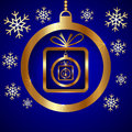 Vector blue gold decorative christmas greeting card with snowflakes ball and nested gifts Royalty Free Stock Photos