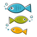 Vector Blue, Green and Orange Fish Illustration With Bubbles Royalty Free Stock Image