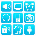Vector blue icon collection with the objects Royalty Free Stock Photos