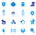 Vector blue Icons collection for baby boy Royalty Free Stock Photo