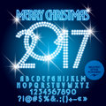 Vector blue light up Merry Christmas 2017 greeting card