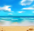 Vector blue ocean from the beach and pebbles Royalty Free Stock Photography