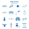 Vector blue optometry icon set. Optician, ophtalmology, vision correction, eye test, eye care, eye diagnostic
