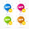 Vector Blue, Orange, Pink and Green Stickers Royalty Free Stock Photo