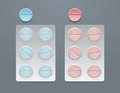 Vector blue and red round pills in blister packs eps Stock Images
