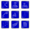 Vector blue square web buttons Royalty Free Stock Photo