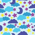 Vector, Blue, sun, moon, stars and clouds. seamless pattern background