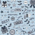 Vector in blue tones pattern on shopping, themed Royalty Free Stock Photo