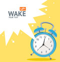 Vector blue wakeup clock card flat design illustration place for your text Stock Photo