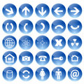 Vector blue web icons set Royalty Free Stock Photography